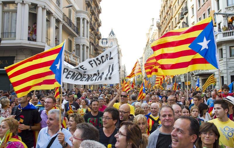 Protest för Catalonia självständighet arkivfoton