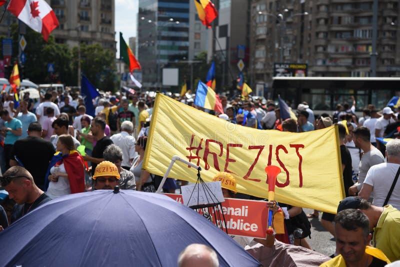 Protest för Romanians från utlandet mot regeringen fotografering för bildbyråer