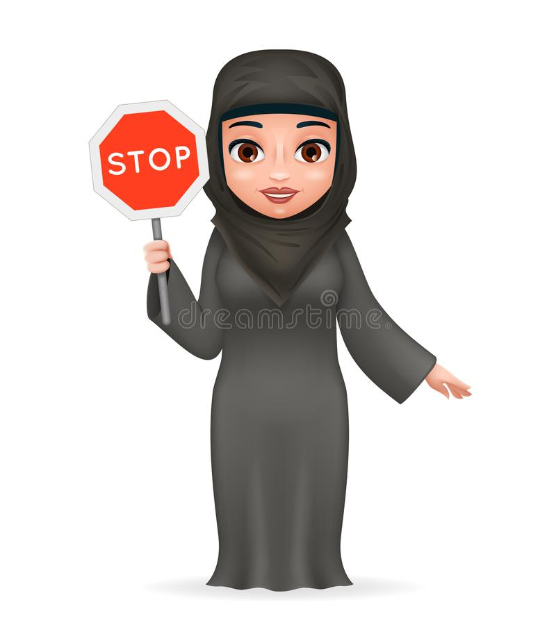 Protest fight for equal rights stop sign arabe tradicional cute female clothing hijab abaya 3d cartoon character design. Protest fight for equal rights stop sign royalty free illustration