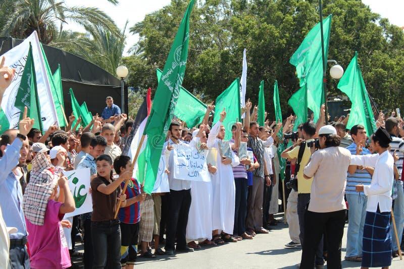 Protest in Gaza stockfotos