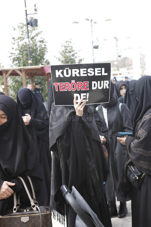 Protest gegen das Massaker in Neuseeland stockfoto