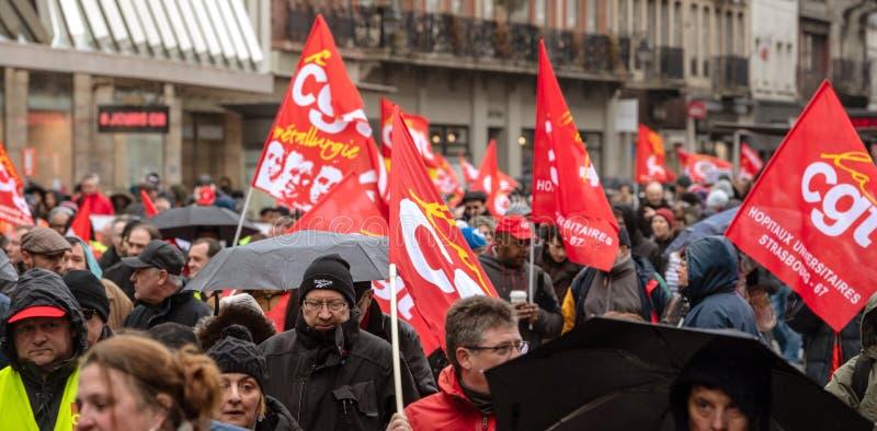 Protest gegen französische Regierungsschnur Macron von Reformen schließen stockfotos