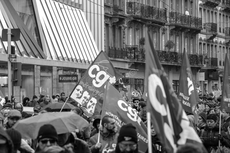 Protest gegen französische Regierungsschnur Macron von Reformen schließen lizenzfreie stockfotografie