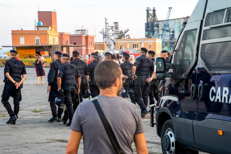 Migrant Protest. A protest within the heart of Catania, Sicily, at the harbor for the release of migrants onboard a rescue ship stock photo