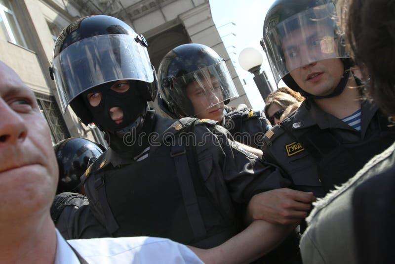 Protest het anti-Kremlin in Moskou stock fotografie