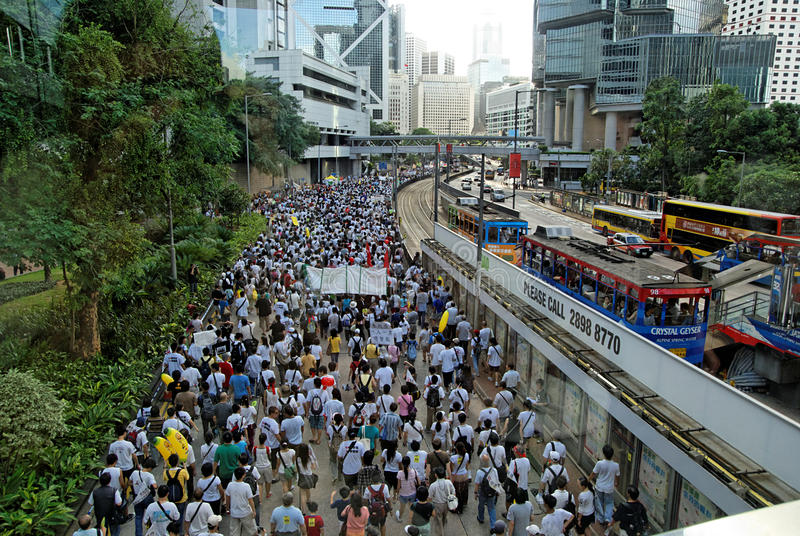 Protest in Hongkong 1st Juli 2009 stock foto