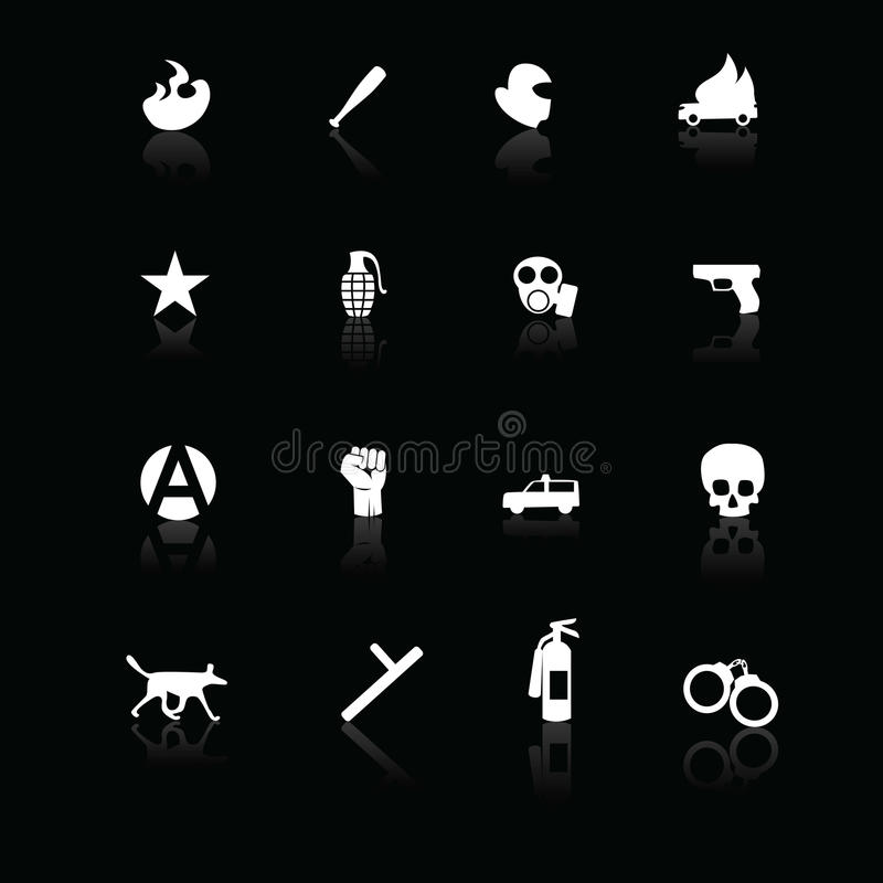 Download Protest Icons White On Black Stock Vector - Image: 25983564