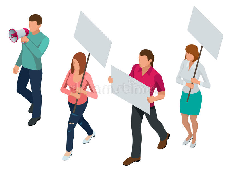 Protest Isometric People with placard and megaphones on demonstration. Demonstration, protest, strike concept. vector illustration