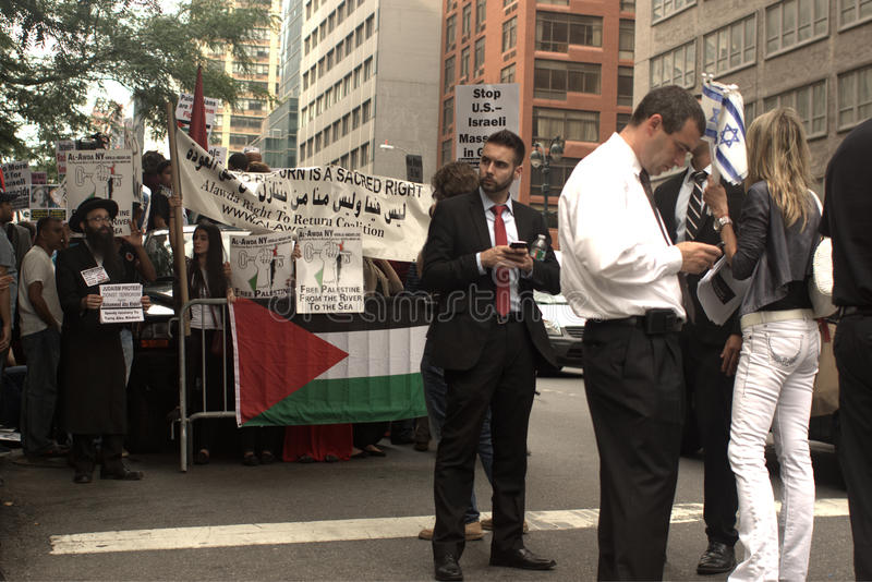 Protest for Jewish outrage at Zionist attacks in Palestine. New York, USA - July 9, 2014:Protest for Jewish outrage at Zoinist attacks in Palestine in 42st. 2nd stock photo
