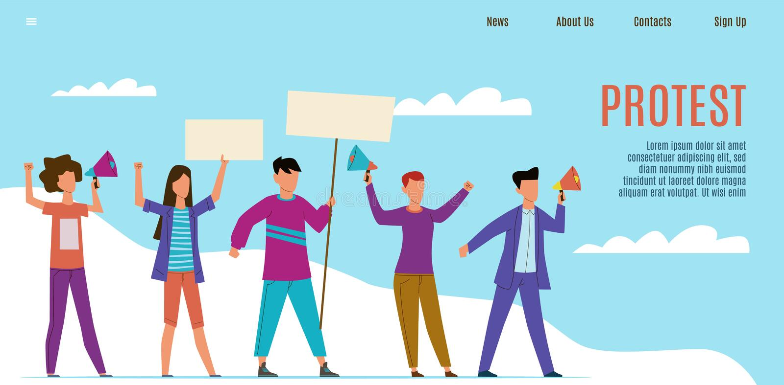 Protest landing page. Protesting activists with loudspeakers, people with placards. Human rights and working strike stock illustration