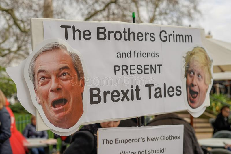Protest Londons England - Londons Brexit lizenzfreies stockfoto