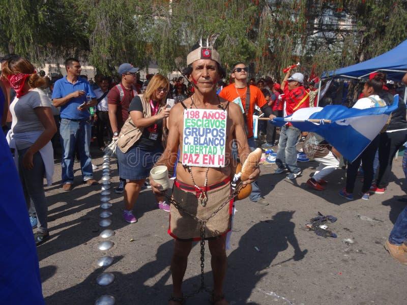 Protest Maart tegen Herverkiezing van Juan Orlando Hernandez Honduras 21 Januari 2018 4 stock foto