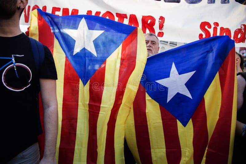 Protest in Madrid in steun aan het referendum van Catalonië 20 - 09 - 2017 royalty-vrije stock foto's