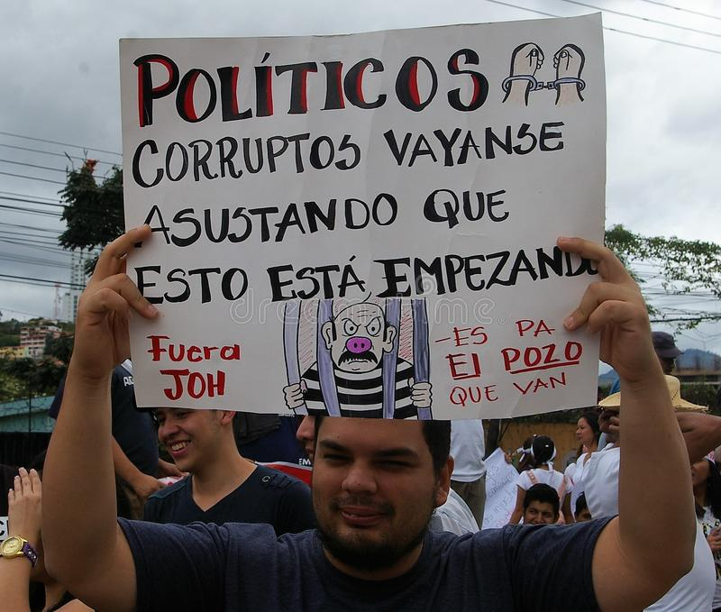 Protest march against corruption and reelection of Juan Orlando Hernandez royalty free stock images