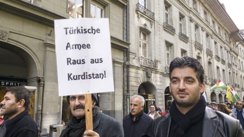 Protest march against Erdogan in Bern, Switzerland stock images