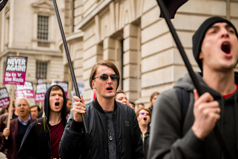 Protest March - London. London, UK. 1st April 2017. EDITORIAL - English Defence League / Britain First rally with counter demo by the Unite Against Fascism stock image