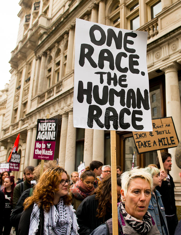 Protest March - London. London, UK. 1st April 2017. EDITORIAL - English Defence League / Britain First rally with counter demo by the Unite Against Fascism stock images