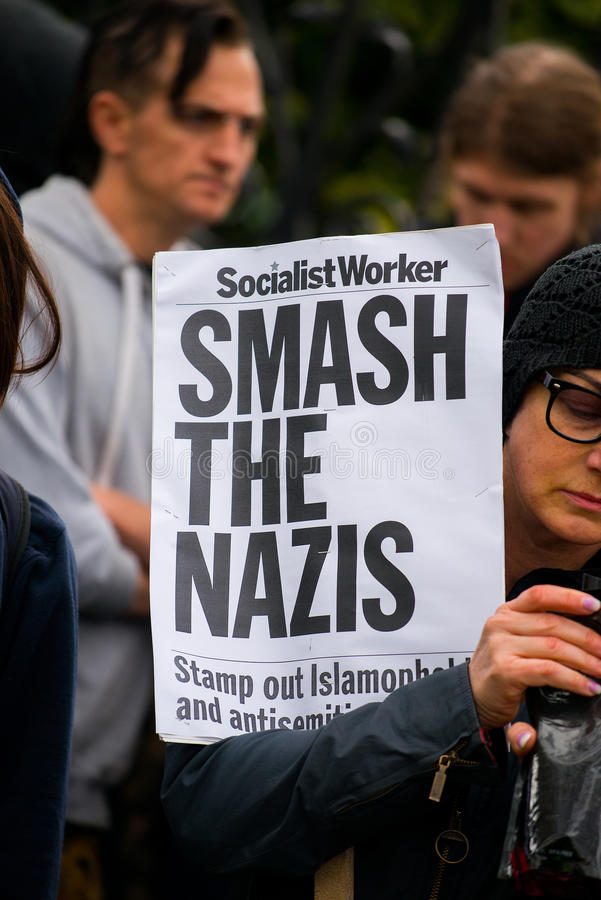 Protest March - London. London, UK. 1st April 2017. EDITORIAL - English Defence League / Britain First rally with counter demo by the Unite Against Fascism stock photo