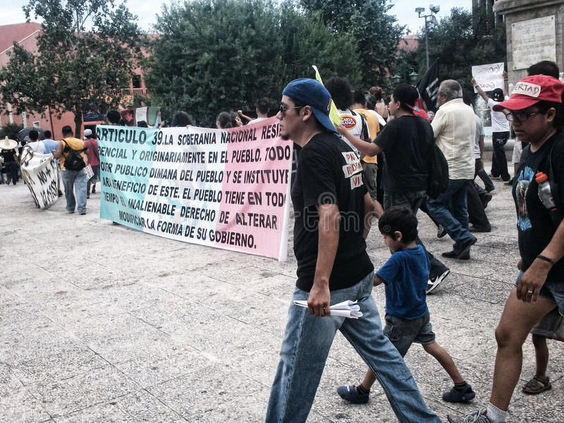 132 Protest march. MONTERREY, NUEVO LEON/MEXICO - 07 29 2012: Citizens at a protest march for political justice promotion, organized by I am 132 movement stock photography