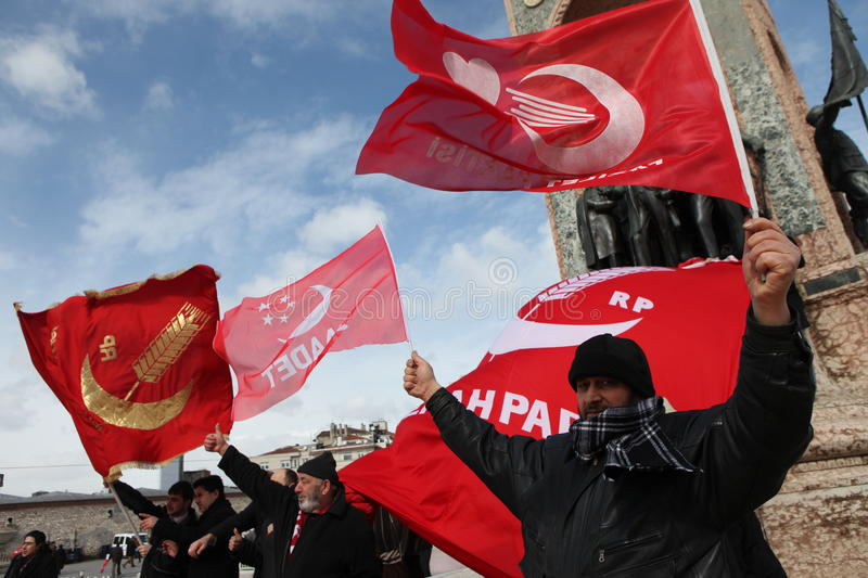 Protest of Military Memorandum. Istanbul, Turkey-February 28, 2012: Members of the Felicity Party protested against the military memorandum on February 28 in royalty free stock images