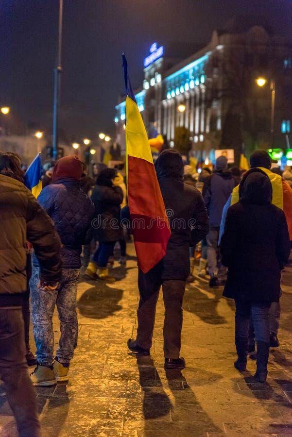 Protest mot korruption och rumänsk regering royaltyfri bild