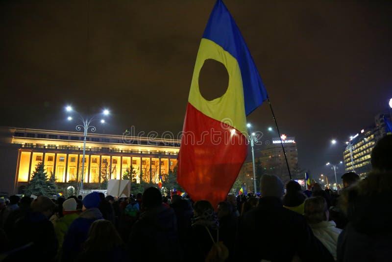 Protest mot korruption och rumänsk regering arkivfoto