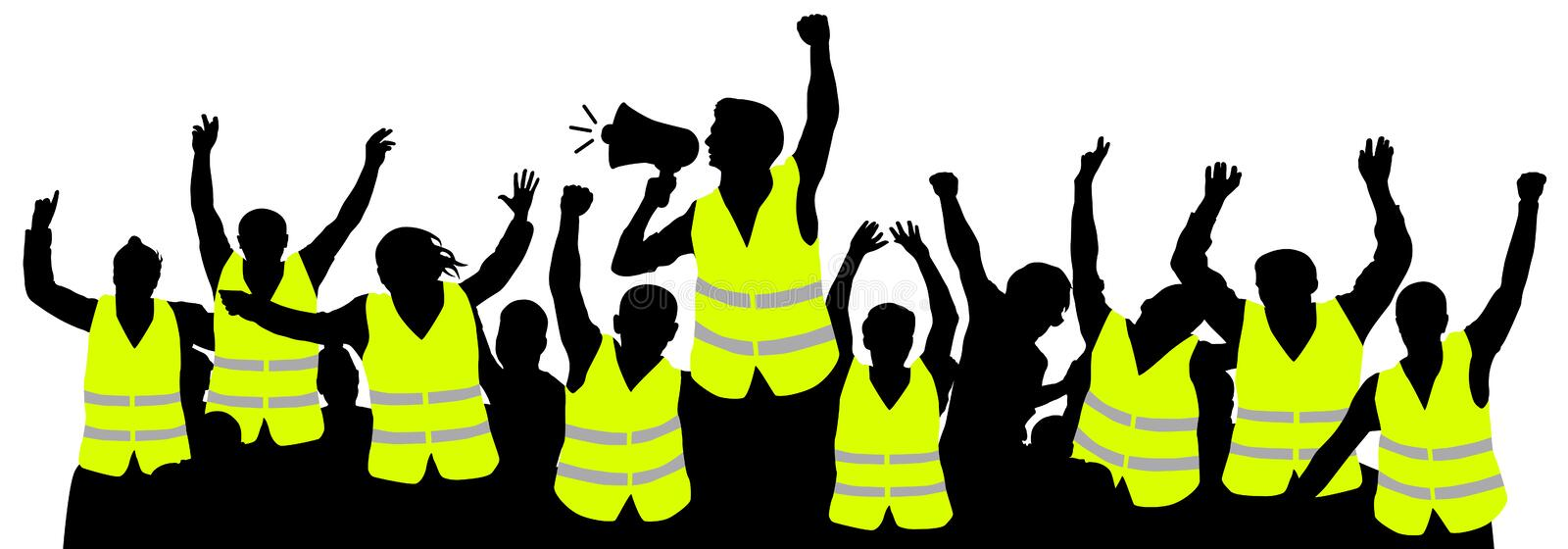 Protest movement of yellow vests. Crowd people silhouette vector stock illustration
