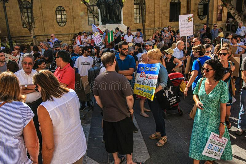 The Enough is enough protest Valletta, Malta. 7th Seprember 2019. royalty free stock image
