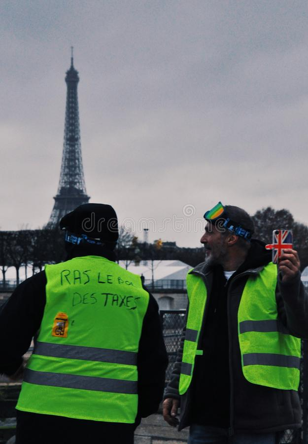 Protest in Parijs, 1 12 2018 stock foto's