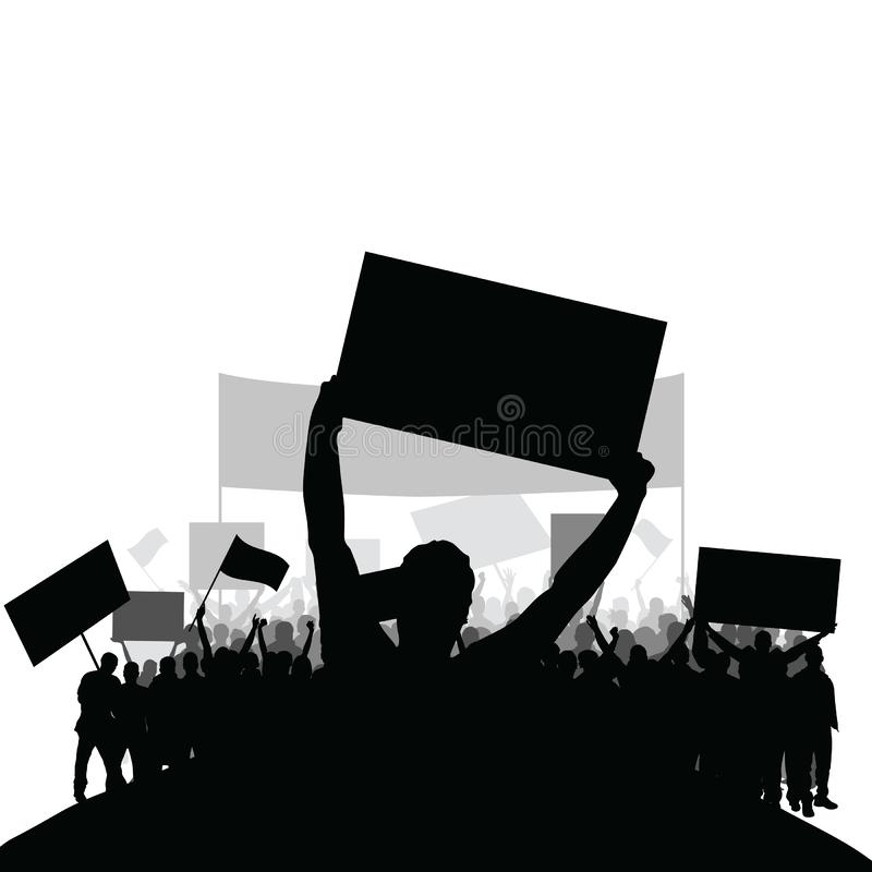 Protest people silhouette vector with group in the back set two stock images