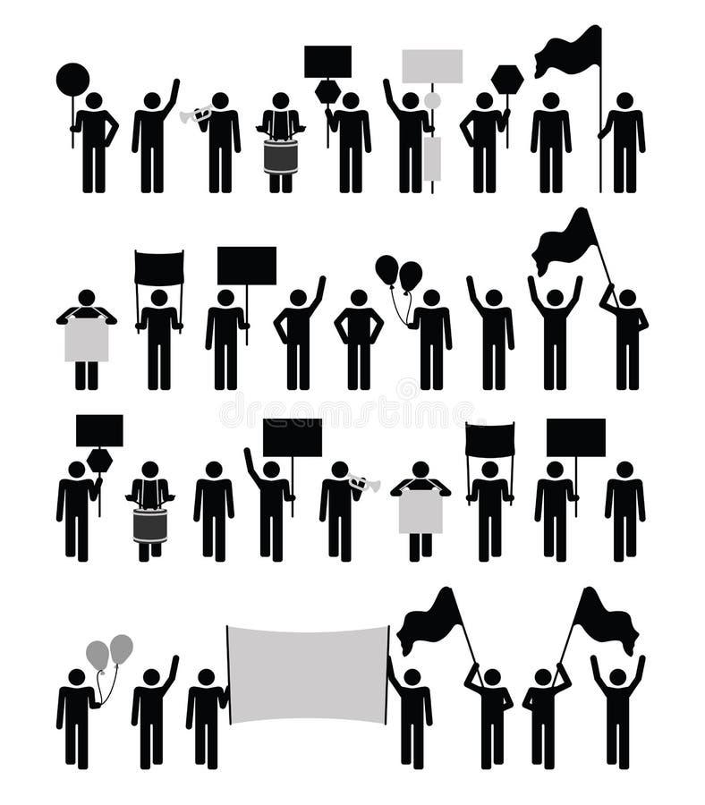 Protest - pictogramsamling stock illustrationer