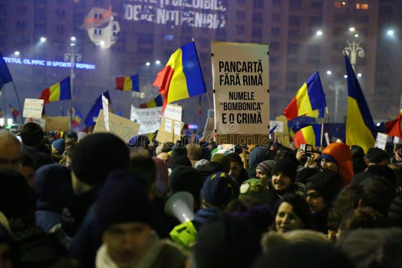 Protest przeciw korupci i Rumuńskiemu rzędowi fotografia royalty free