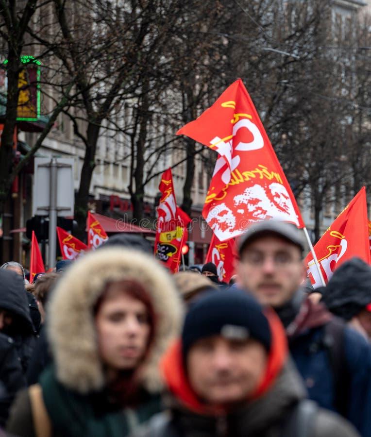 Protest przeciw Macron rzędu Francuskiemu sznurkowi reformy persp fotografia royalty free