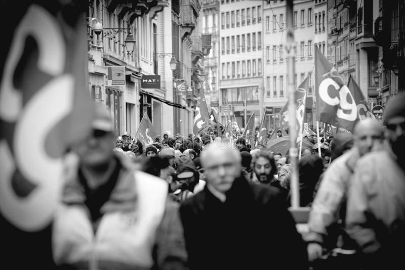 Protest przeciw Macron rzędu Francuskiemu sznurkowi reformy zamyka fotografia stock