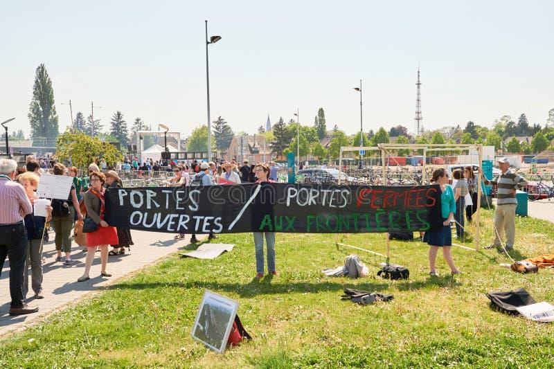 Protest przeciw polityce imigracyjnej zdjęcia stock