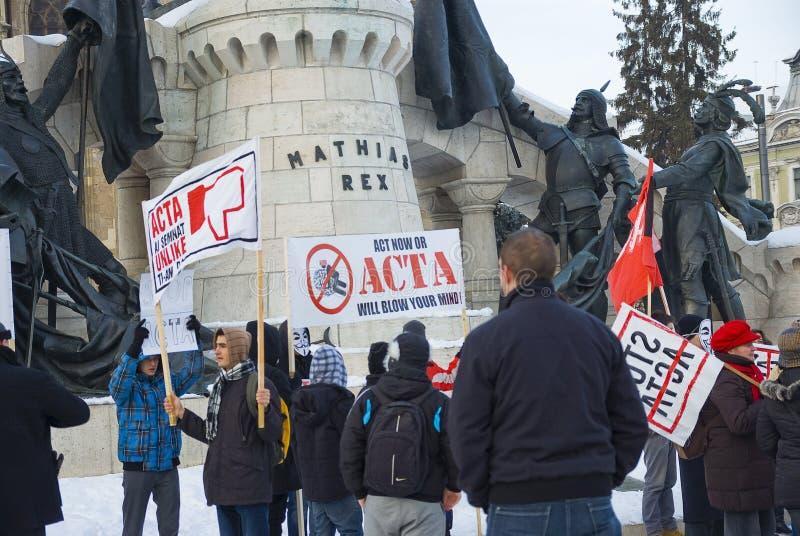 Protest In Romania Against ACTA Editorial Stock Photo
