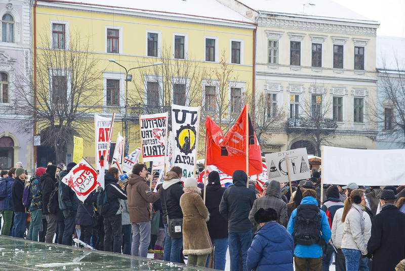 Protest In Romania Against ACTA Editorial Image