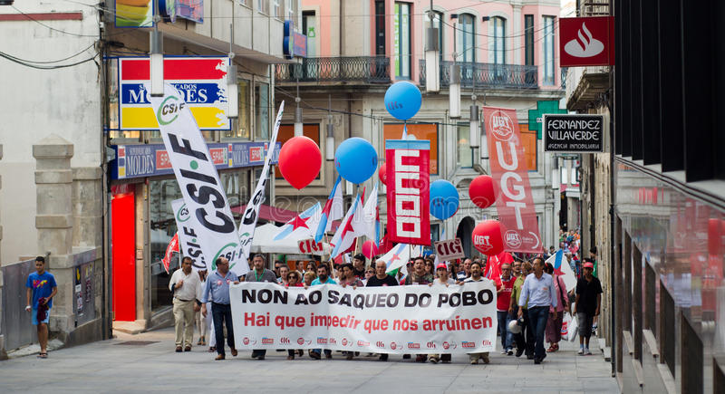 Protest in the street. PONTEVEDRA - JULY 19: Detail of the manifestation of all unions and associations to protest the social cuts, of the Conservative stock photo