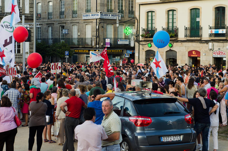 Protest in the street. PONTEVEDRA - JULY 19: Detail of the manifestation of all unions and associations to protest the social cuts, of the Conservative stock image