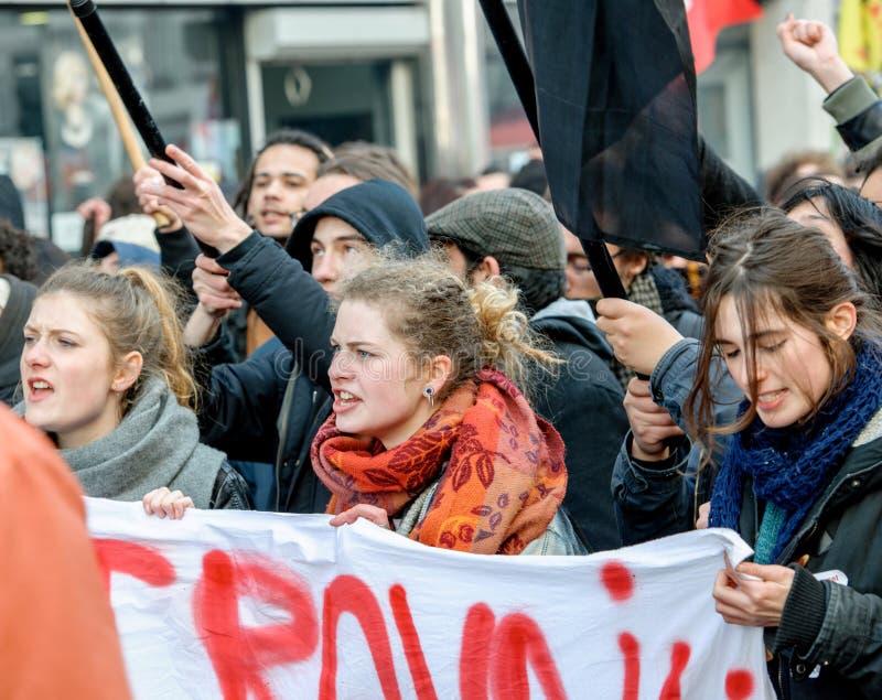 Protest tegen Arbeidshervormingen in Frankrijk royalty-vrije stock fotografie