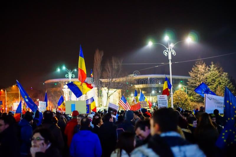Protest tegen corruptie in Boekarest, Roemenië stock fotografie