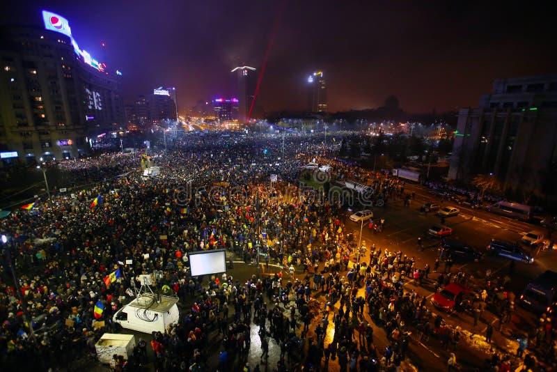 Protest tegen corruptie en Roemeense Overheid stock afbeelding