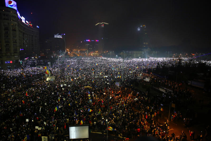 Protest tegen corruptie en Roemeense Overheid royalty-vrije stock foto's