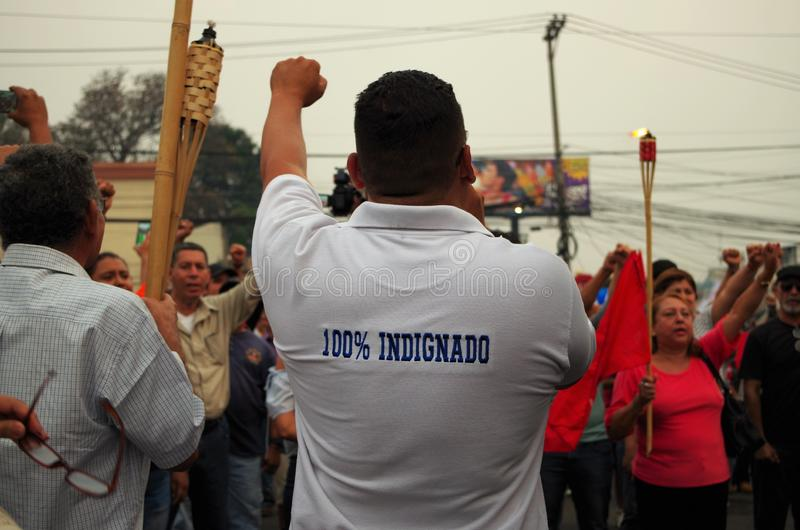 Protest tegen corruptie in Honduras tegen Juan Orlando Hernandez 27 stock fotografie