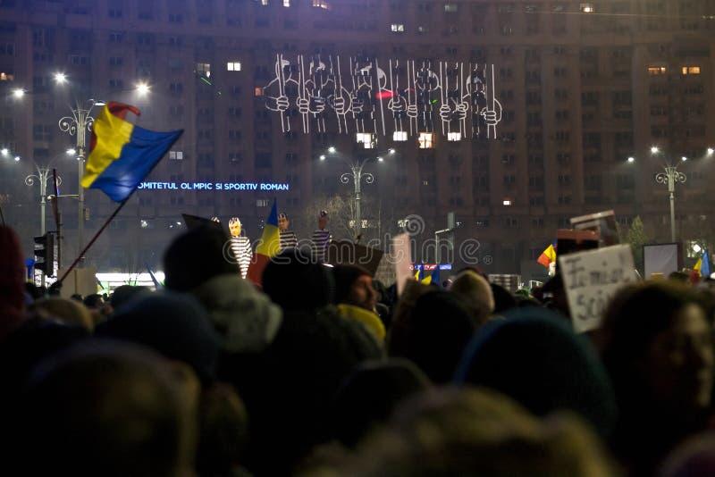 Protest tegen corruptiehervormingen in Boekarest royalty-vrije stock fotografie