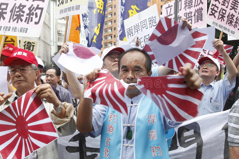 Protest tegen Japan royalty-vrije stock foto