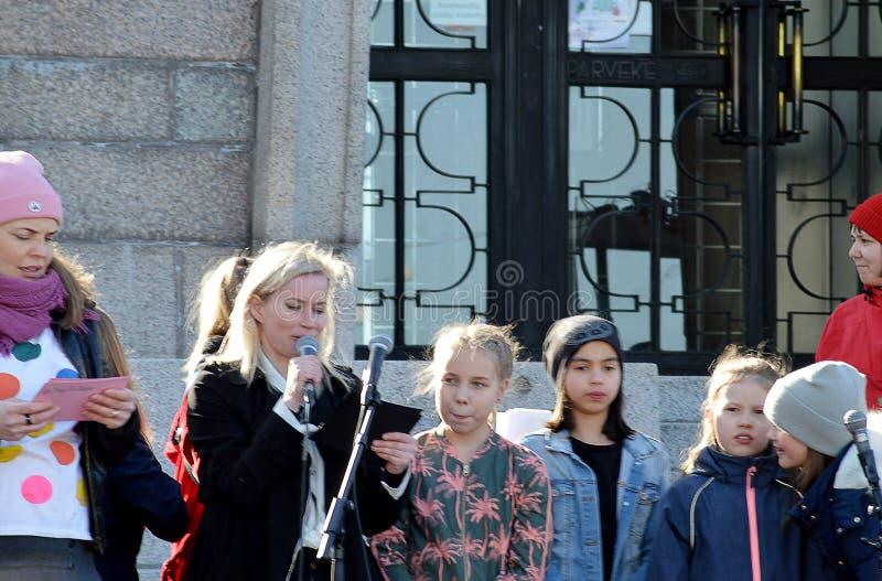 Protest tegen overheidsinactiviteit bij de klimaatverandering, Helsinki, Finland royalty-vrije stock foto