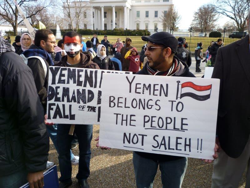 Protest tegen Saleh bij het Witte Huis stock afbeeldingen