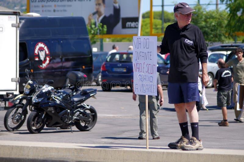 Protest tegen tol op A22 royalty-vrije stock fotografie
