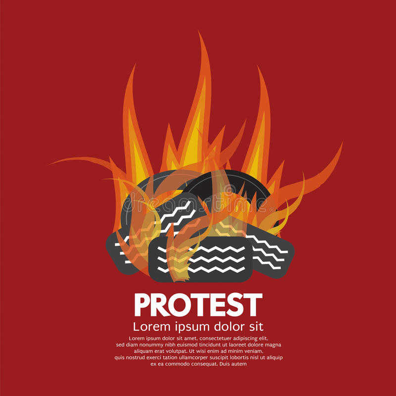 Protest By Tires Burned vector illustration